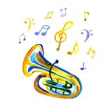 Watercolor copper brass band tuba on note background. Watercolor copper brass band tuba on white note background Royalty Free Stock Photo