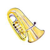 Watercolor copper brass band tuba. On white background Stock Images