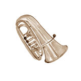 Watercolor copper brass band tuba. On white background Stock Photo