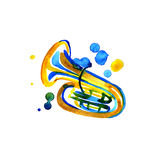 Watercolor copper brass band tuba on white Royalty Free Stock Photography