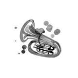 Watercolor copper brass band tuba on white Royalty Free Stock Images
