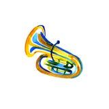 Watercolor copper brass band tuba on white Stock Photos