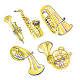 Watercolor copper brass band. On white background Stock Image
