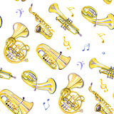 Watercolor copper brass band. On white background Stock Photo