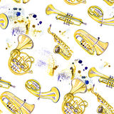 Watercolor copper brass band. On white background Royalty Free Stock Images