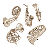 Watercolor copper brass band on white. Background Royalty Free Stock Photo