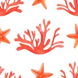 Watercolor coral reef seamless pattern. Hand drawn cartoon background design: starfish and corals, on white background. Background stock illustration