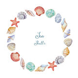 Watercolor corners of the frame with sea shells Royalty Free Stock Images