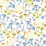 Watercolor corolla dill flower seamless pattern Royalty Free Stock Photography