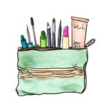 Watercolor cosmetics with makeup kit stock illustration
