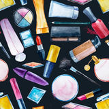 Watercolor cosmetics pattern Royalty Free Stock Photography