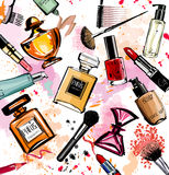 Watercolor cosmetics and perfumes collection royalty free illustration