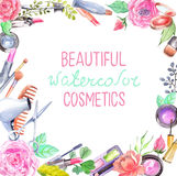 Watercolor cosmetics set. Beautiful frame with flowers over white Royalty Free Stock Images
