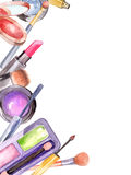 Watercolor cosmetics set Stock Photos