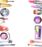 Watercolor cosmetics set Stock Image