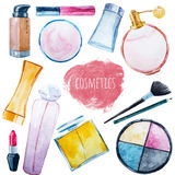 Watercolor cosmetics set Stock Images