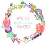 Watercolor cosmetics set Royalty Free Stock Photography
