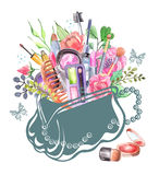 Watercolor cosmetics set. With woman bag and flowers Stock Photos
