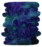 Watercolor cosmic background, brush stroke shape. Watercolor cosmic background. Galaxy, universe or night sky with stars and colorful watercolor stains. Emerald Royalty Free Stock Photos