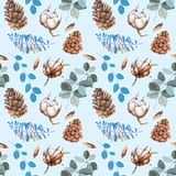 Watercolor cotton flowers, pine cones and blue branches winter Christmas seamless pattern. Hand painted on a blue background, celebratory winter design Stock Images