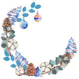 Watercolor cotton flowers, pine cones and blue branches winter Christmas wreath Royalty Free Stock Photos