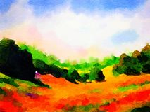 Watercolor Country scene Royalty Free Stock Image