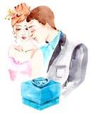 Watercolor couple in love Stock Photos