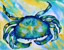 Watercolor Crab. Colorful abstract blue, green and yellow watercolor crab painting Royalty Free Stock Image