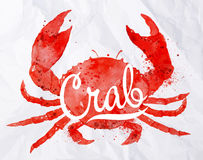 Watercolor crab Royalty Free Stock Images