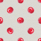 Watercolor Cranberry. Seamless pattern. Cranberry cute background, watercolor illustration. Polka dots, Berry Hand drawn pattern Stock Photo