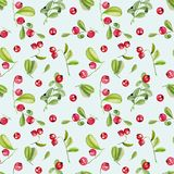Watercolor cranberry seamless pattern. Hand painted on a blue background royalty free illustration