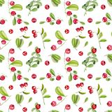 Watercolor cranberry seamless pattern. Hand painted on a white background royalty free illustration