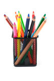 Watercolor crayons in a box Royalty Free Stock Images