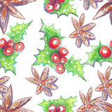 Watercolor crayons Christmas background. Hand drawn seamless pattern. Can use them for wrapping paper, greeting card, prints stock illustration