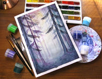 Watercolor creative art drawing magic forest wood nature gouache paint pot brush paintbrush photo Stock Photography