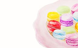 Watercolor creative traditional french dessert Stock Photos