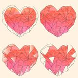 Watercolor crystal hearts set. On beige background Royalty Free Stock Photos