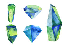 Watercolor crystal, mineral, gem set Stock Images