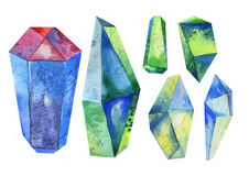 Watercolor crystal, mineral, gem set Royalty Free Stock Photography