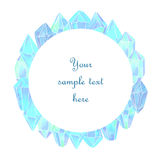 Watercolor crystals banner. Hand painted on white background Royalty Free Stock Image