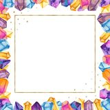 Watercolor crystals in a golden square frame. Illustration of colored gems hand-painted. Great for invitations, cards, business cards, greeting cards, weddings stock illustration
