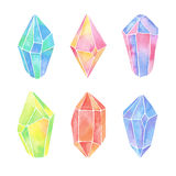 Watercolor crystals set Stock Photography