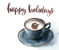 Watercolor cup of cappuccino with Happy holidays lettering. Christmas illustration with blue cup of coffee and cinnamon Royalty Free Stock Photos
