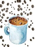 A Cup of Espresso. Watercolor cup of espresso on white background with coffee beans Stock Photography