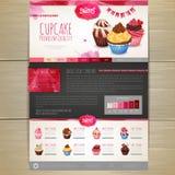 Watercolor Cupcake dessert design. Corporate identity. Web site design Stock Photos