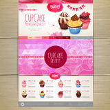 Watercolor Cupcake dessert design. Web site Stock Photography