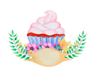 Watercolor cupcake and flowers. Stock Photos