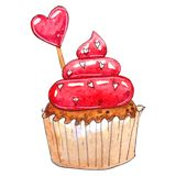 Watercolor cupcake isolated on white background vector illustration