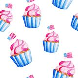 Watercolor cupcake pattern for 4th of July. Celebration of American Independence Day.  Royalty Free Stock Images