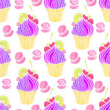 Watercolor cupcake pattern. Stock Photography